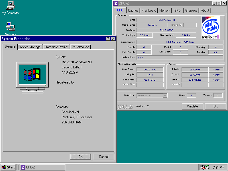 Screenshot of the Windows 98 Second Edition desktop, showing evidence of a Pentium II 300MHz with 256MB RAM.