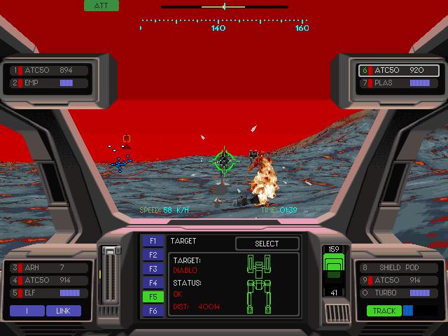 An EarthSiege2 screenshot, showing combat