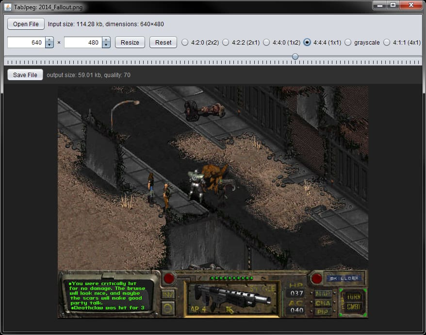 Screenshot of TabJpeg, optimizing the Fallout screenshot.