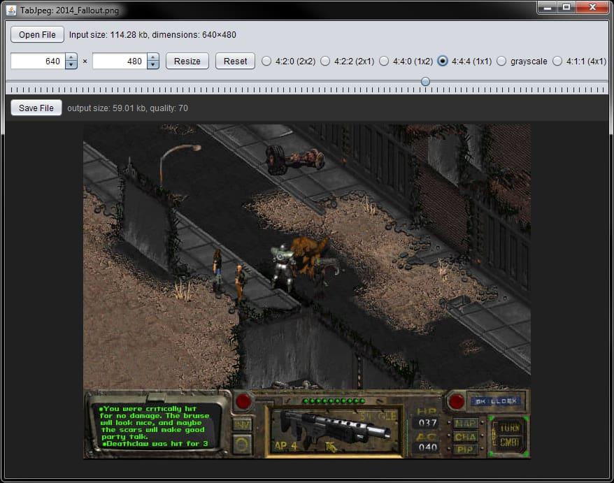 Screenshot of TabJpeg, optimizing the Fallout screenshot.