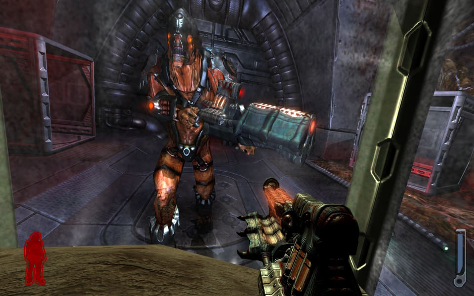 Screenshot from Prey, showing an enemy up close when the player has shrunk