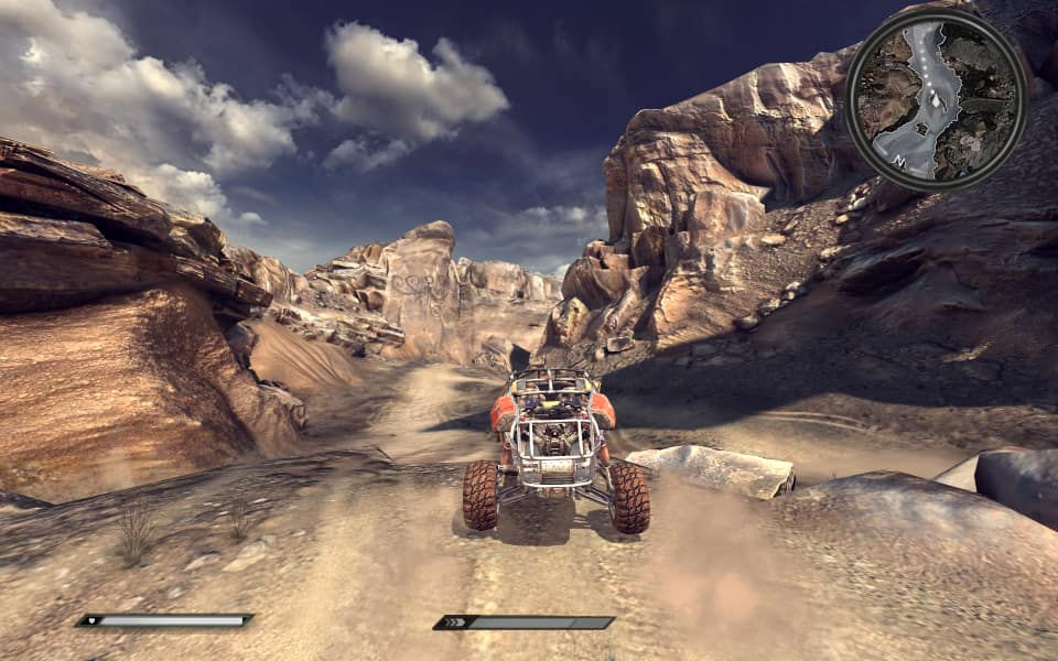 Rage Screenshot, driving through one of the many canyons