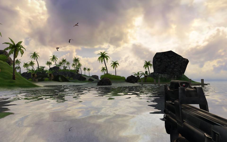 FarCry screenshot showing a beach camp