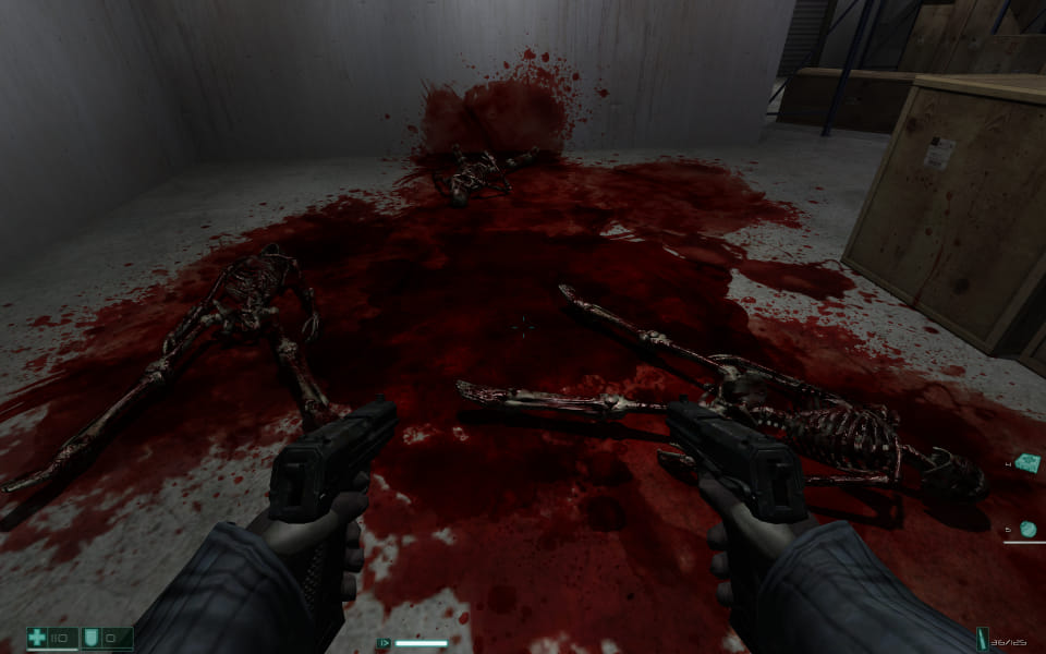 Screenshot of FEAR, showing 3 bloody skeletons on the floor