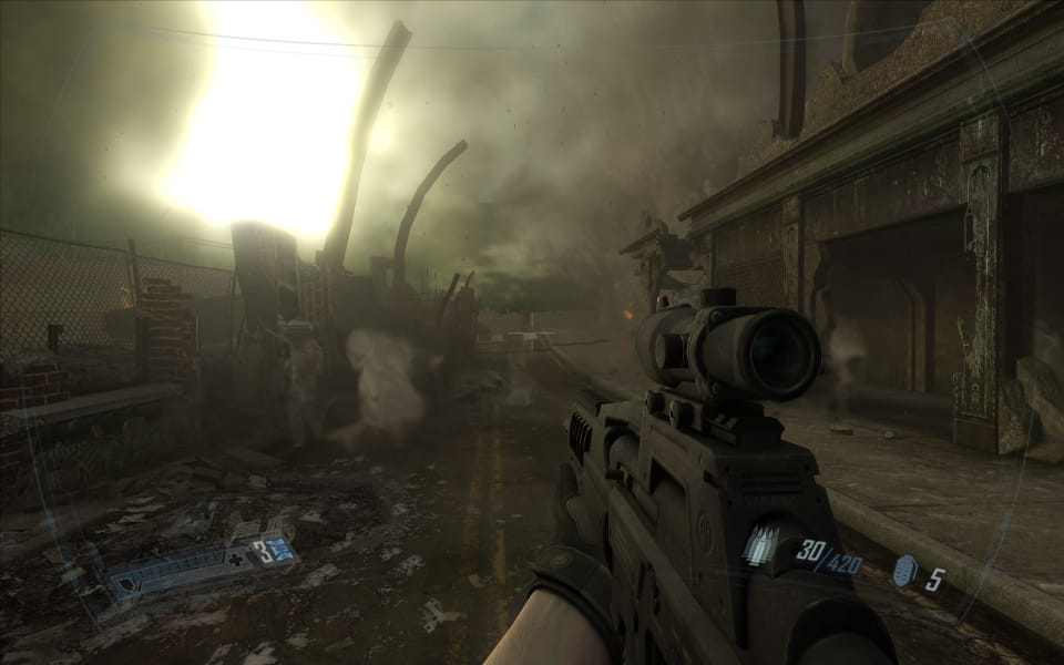 Screenshot of F.E.A.R. 2, showing ghosts in a destroyed city
