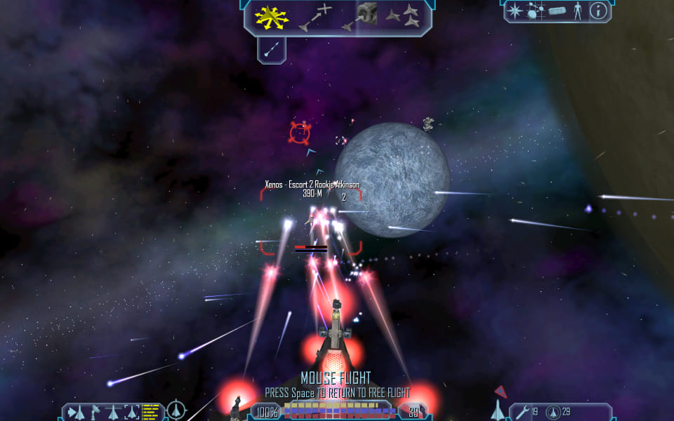 Freelancer screenshot, shooting at an enemy ship