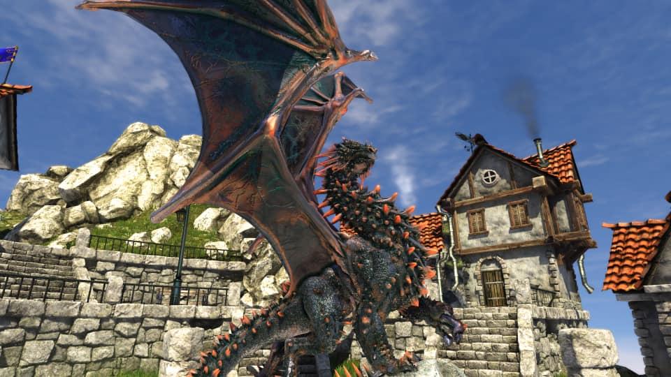 Heaven 4.0 screenshot, featuring the dragon statue