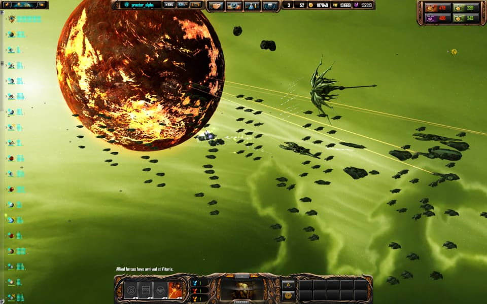 A Sins of a Solar Empire screenshot, with the Vasari assaulting a volcanic planet