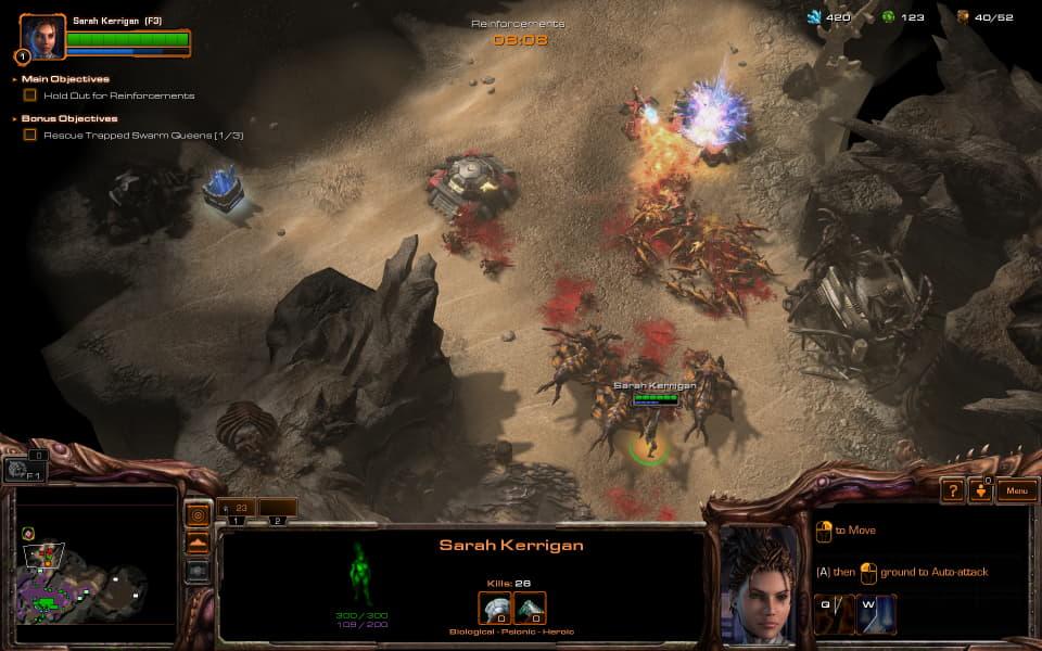 StarCraft 2: Heart of the Swarm screenshot, showing Kerrigan in combat destroying bunkers.