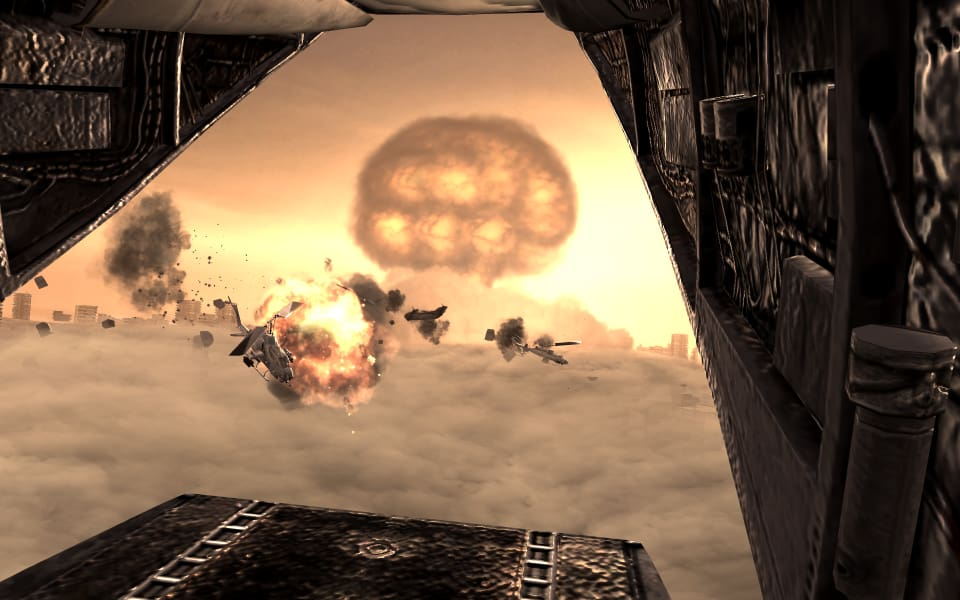 Screenshot from Call of Duty 4: Modern Warfare, showing a nuclear explosion