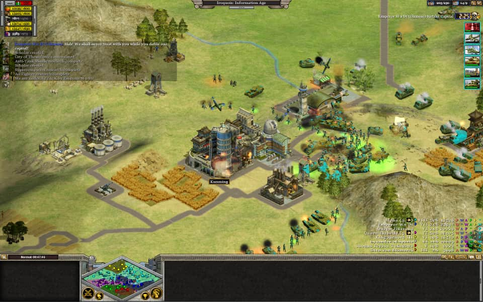 Screenshot of Rise of Nations, showing the Iroquois and Chinese
