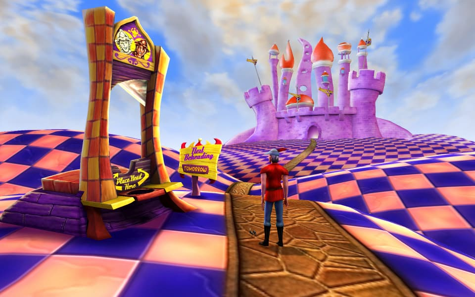 Screenshot of the Silver Lining, showing the guillotine in Chessboardland