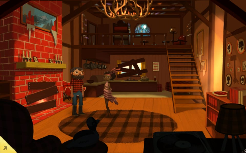 Screenshot from Broken Age, showing Vella and the lumberjack