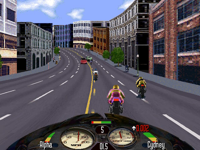 Road Rash screenshot, with some cars and other bikers