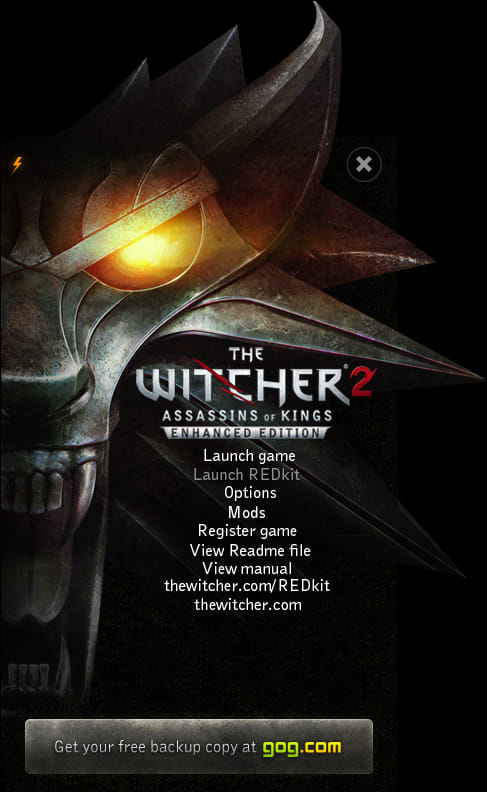 Screenshot of the Witcher 2 launcher, showing a fake button