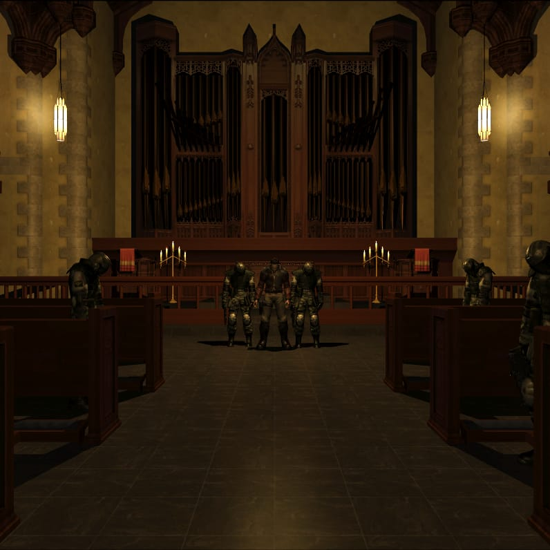 Screenshot from Extraction Point, showing Paxton Fettel in a church surrounded by Replicant soldiers
