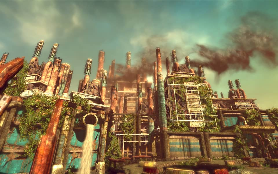 A colorful screenshot of Enslaved, showing a robot factory