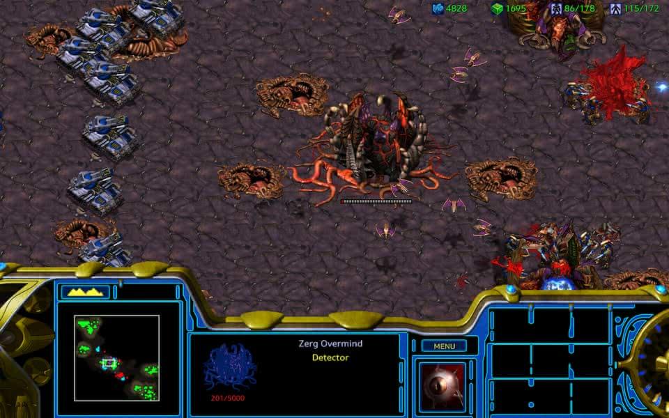 Screenshot of StarCraft: Remastered, showing an assault on the Zerg Overmind.