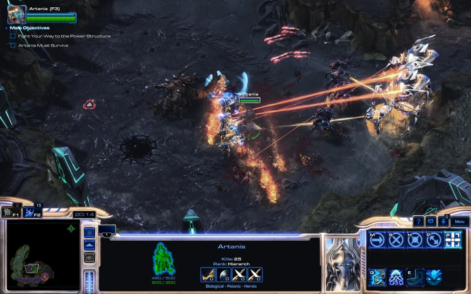 Screenshot of Legacy of the Void, showing Artanis leading a detachment against a Zerg base.