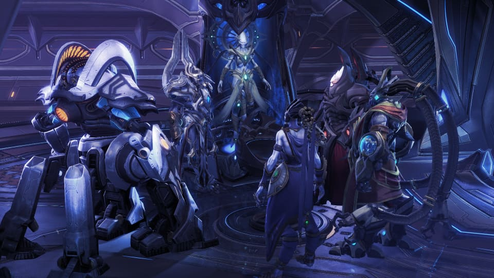 Screenshot of the War Council, showing most of the main characters of the game.