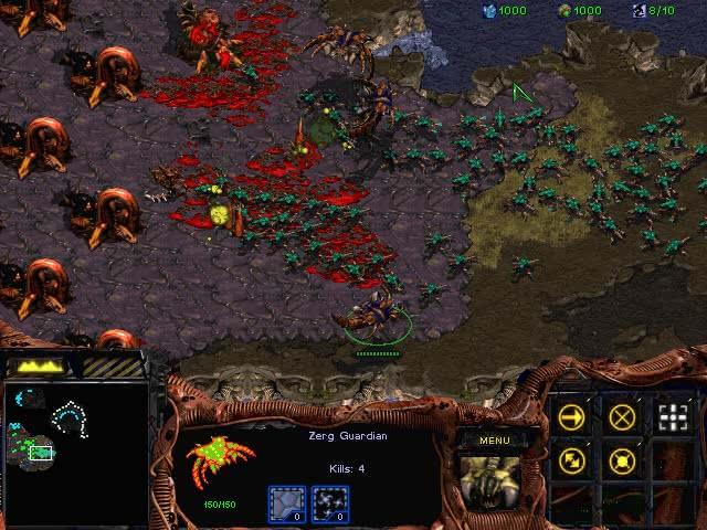 Screenshot of StarCraft Insurrection, showing a massive Zerg attack on a Zerg base.