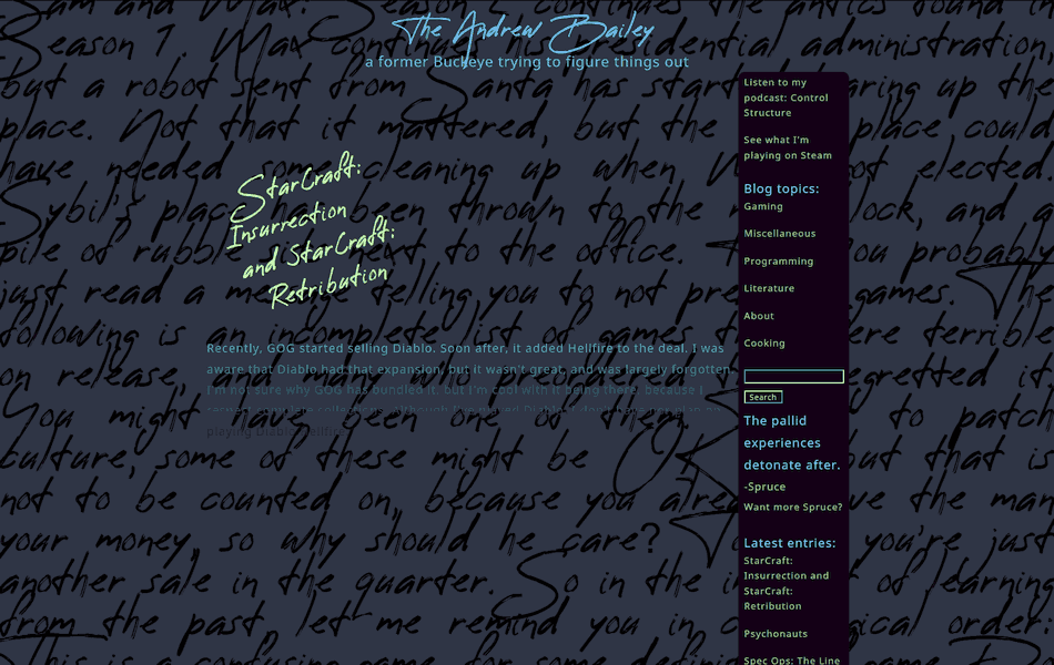 Screenshot of theAndrewBailey.com, with exaggerated colors.