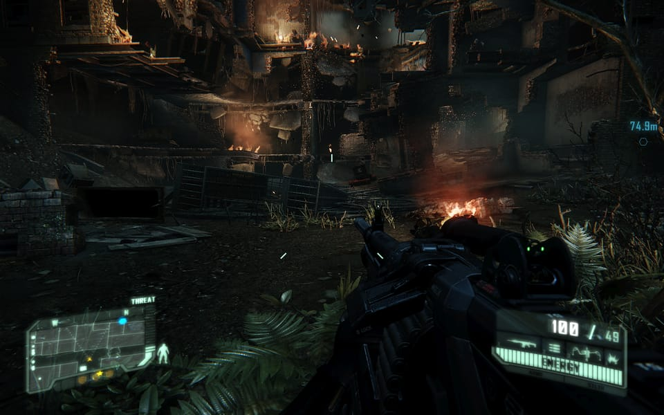 Screenshot of Crysis 3, showing a destroyed apartment building