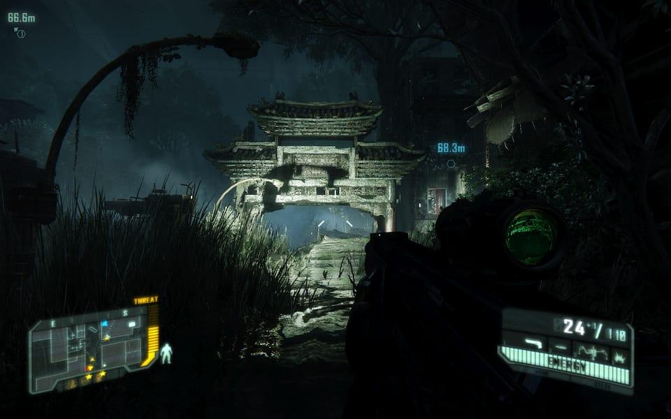Screenshot from Crysis 3, showing a ruined Chinatown.