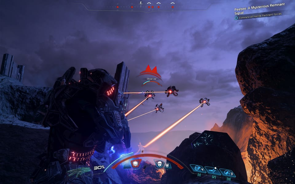 Screenshot of Mass Effect: Andromeda, showing some combat with the ancient robots.