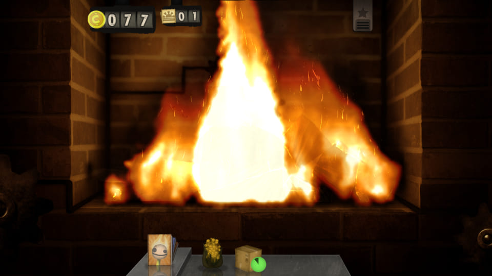 Screenshot from Little Inferno, showing some fire