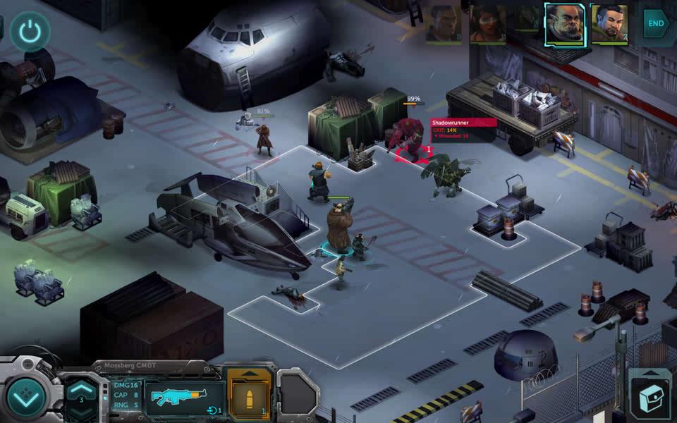 Screenshot of combat in Shadowrun Returns