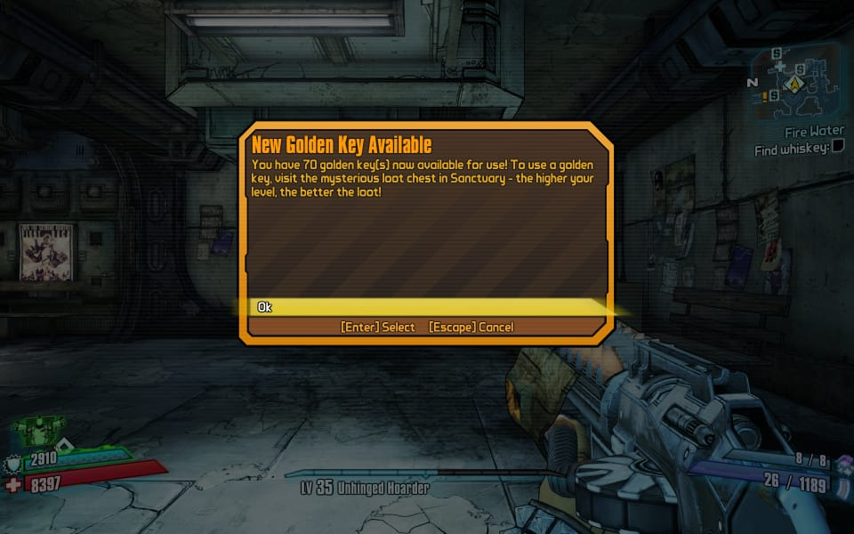 Screenshot from Borderlands 2 showing 70 Golden Keys