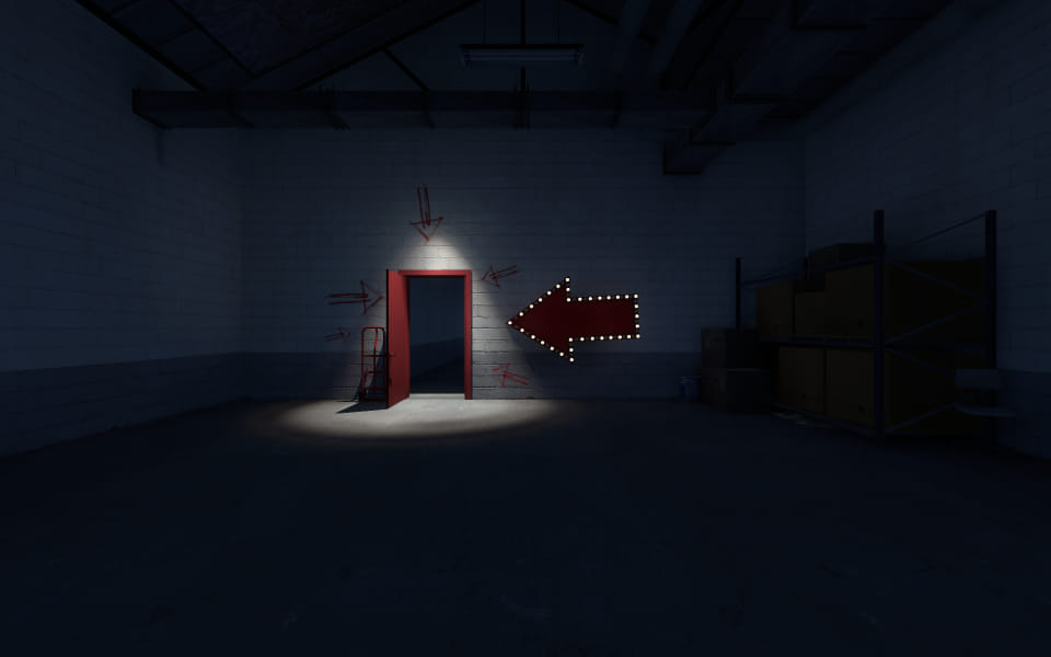 Screenshot of The Stanley Parable, showing a red door