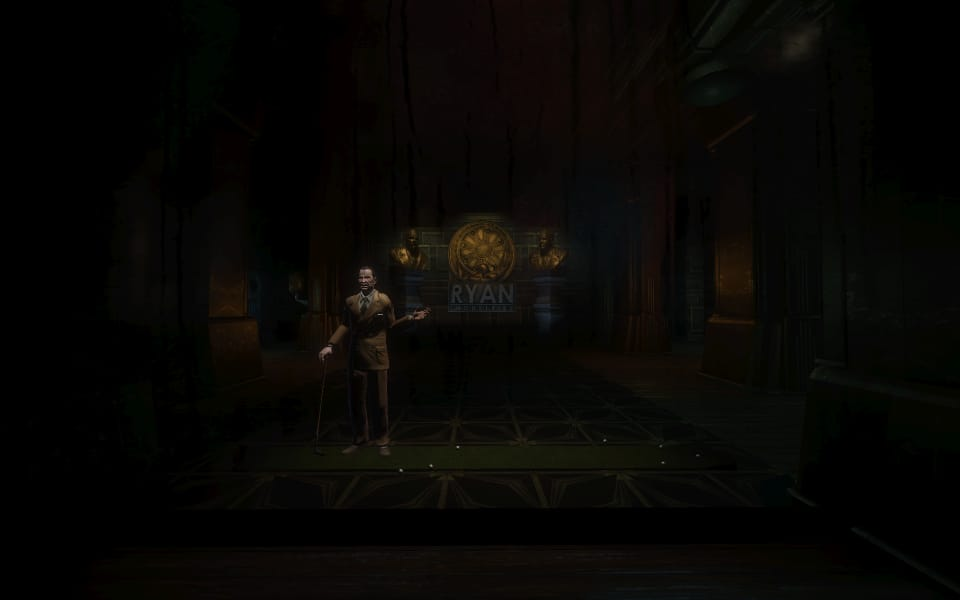 Screenshot of Andrew Ryan, standing in a dark office playing mini-golf.