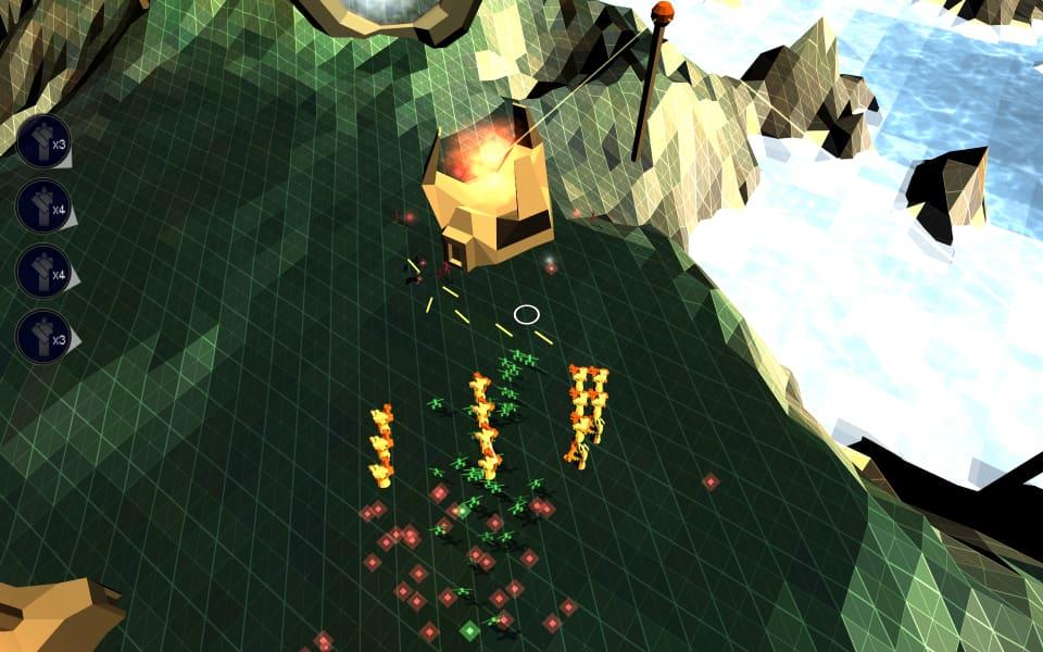 Screenshot of Darwinia, showing friendly and enemy Darwinians, squads, and upward floating souls