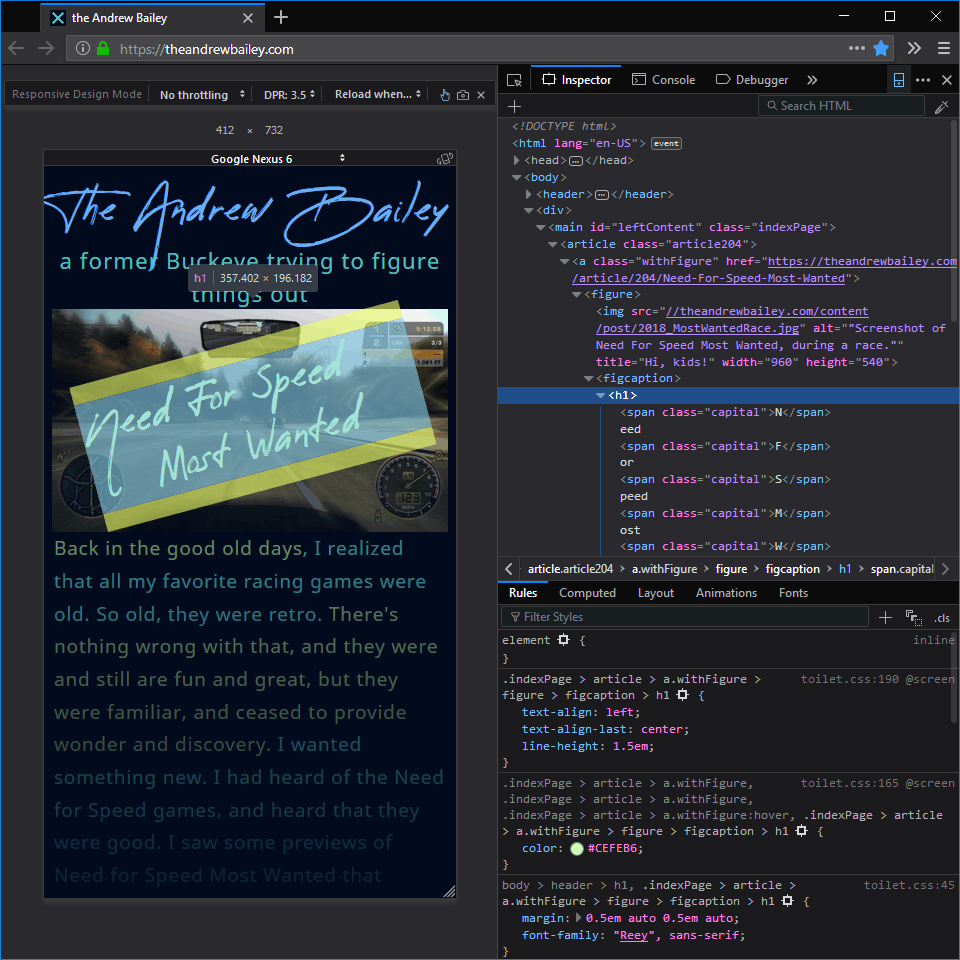Screenshot of Firefox inspecting my homepage.