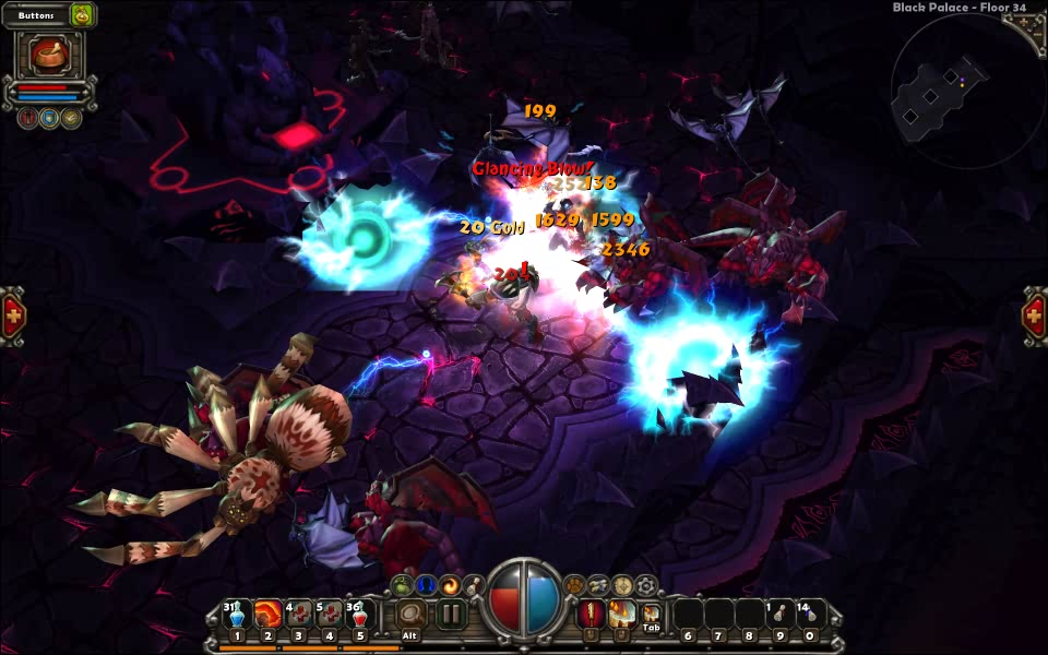 Screenshot of Torchlight, with the Destroyer in the middle of a heated fight.