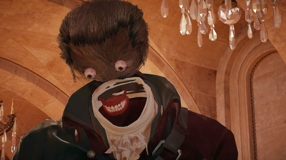 Screenshot of a messed up character model in Assassin's Creed Unity.