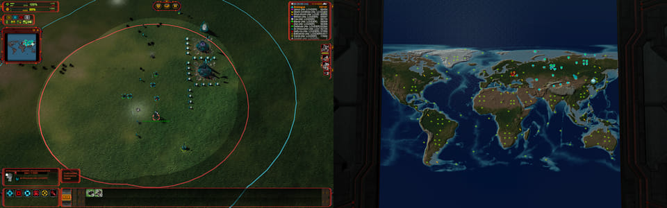 Screenshot of Supreme Commander, showing the dual screen functionality.