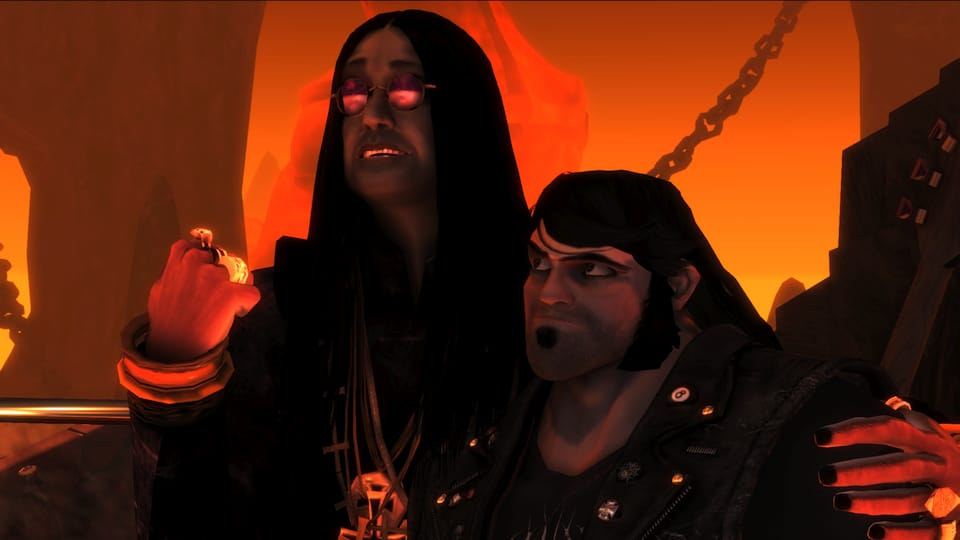 A screenshot of Brütal Legend, with Ozzy and Eddie.