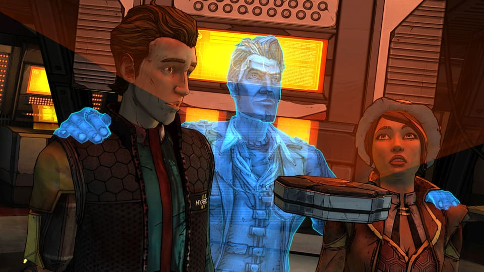 Screenshot of Tales from the Borderlands, showing Rhys, Jack, and Fiona.