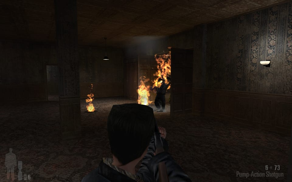 Screenshot of Max Payne having thrown a molotov cocktail at some mobsters.