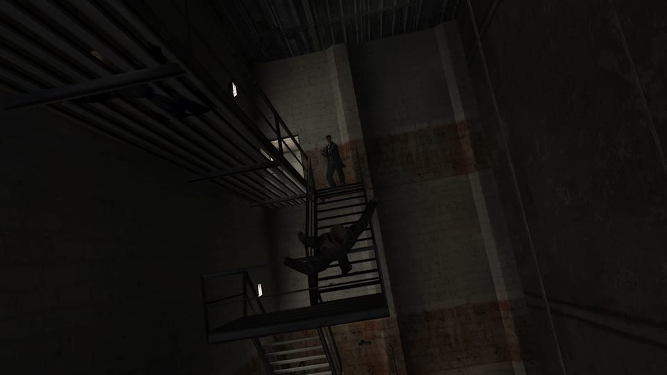 Screenshot of Max Payne finishing off a mobster falling off a fire escape.