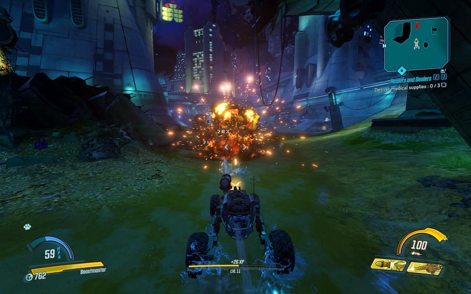 Screenshot of Borderlands 3, showing blowing up a car