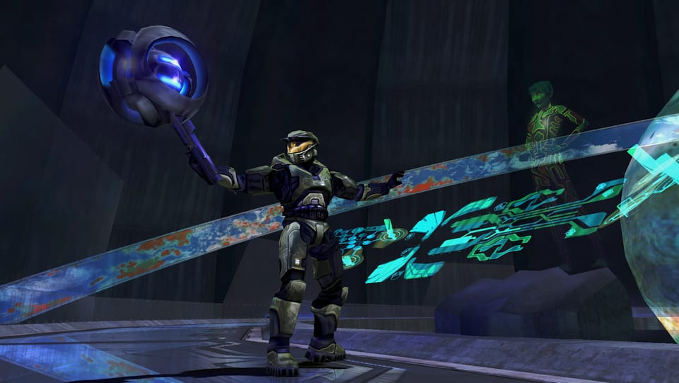 Screenshot of Halo, showing 343 Guilty Spark, Master Chief, and Cortana