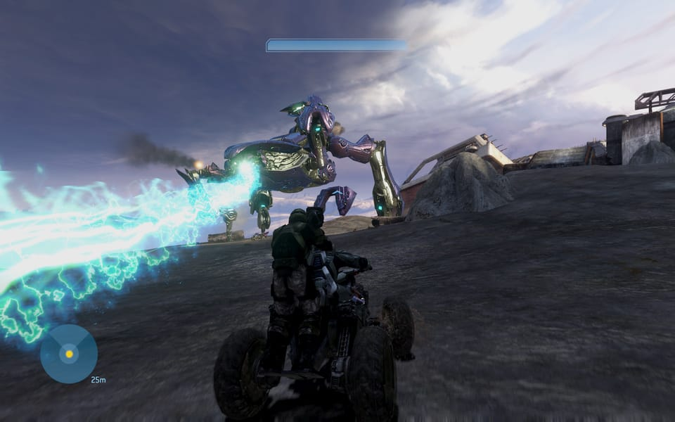 Screenshot of a fight with a massive walker.