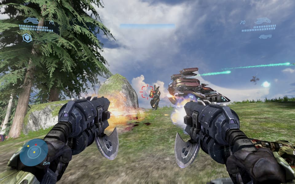 Screenshot of Halo 3, fighting a brute.