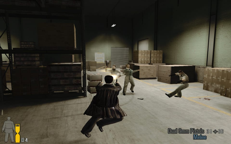 Screenshot of Max Payne 2, showing Max shooting mobsters