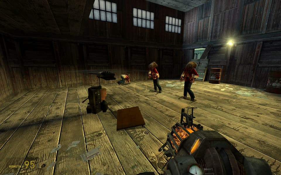 Screenshot of Half-Life 2, showing clones three headcrab zombies wandering into a trap.