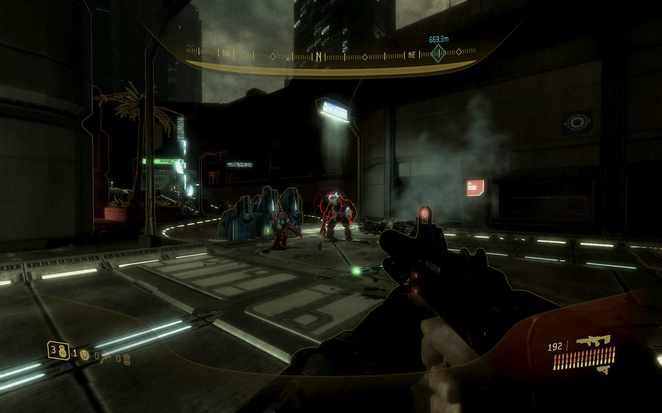 Screenshot of Halo 3: ODST, fighting a brute and a grunt in the streets.